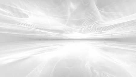 abstract white futuristic background with fractal horizon Banco de Imagens
