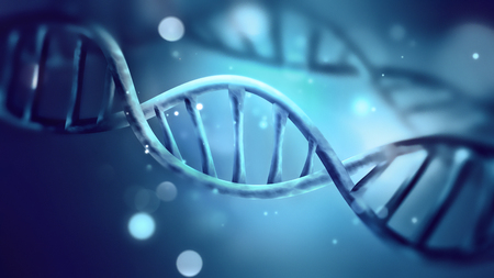 blue DNA strand close-up full screen. 3D image