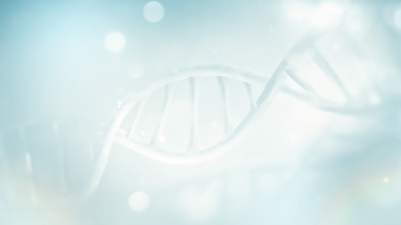 light blue DNA strand close-up full screen. 3D image Stockfoto - 95444150