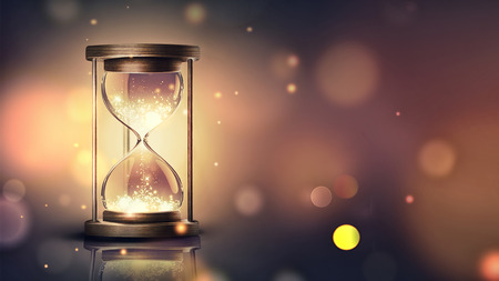 hourglass with shining light on dark background with soft bokeh effect, 3D image Standard-Bild