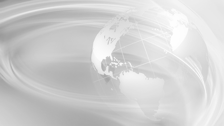 abstract white business background with blue world. 3D image.