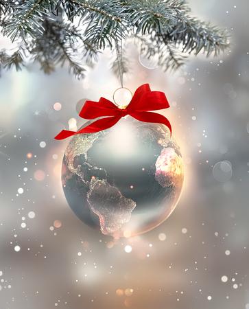zilveren nieuwjaarsvakantieafbeelding met een glanzende wereld als een bal, 3D-beeld.