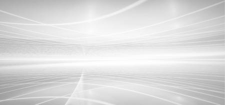 abstrakter weißer futuristischer Hintergrund mit fraktalem Horizont Standard-Bild