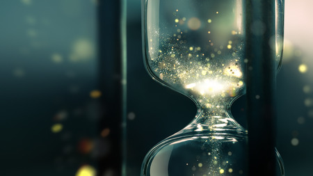 hourglass close up with shining sand inside, conceptual image of time, 3D design Stock Photo