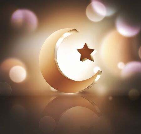 Islamic crescent and star on light background