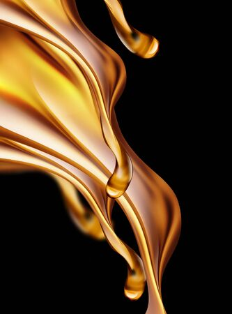 3D image of oil splashes close-up on a dark background