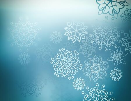 Blue winter background with bright beautiful snowflakes 스톡 콘텐츠