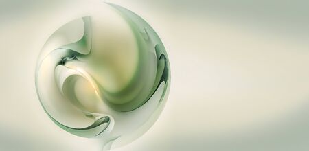 Clean light background with abstract 3D style ball.