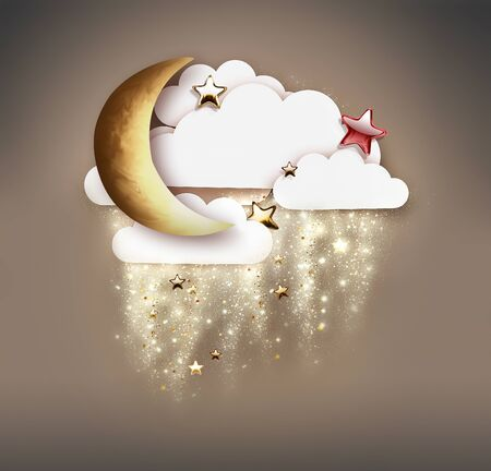 crescent moon, stars and clouds