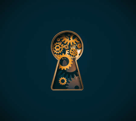 Conceptual design image with keyhole and gear mechanism inside