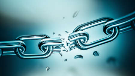 Breaking metal chain Banque d'images