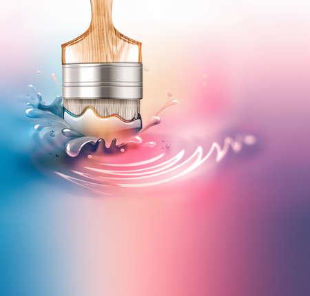Paintbrush in a paint splash Foto de archivo
