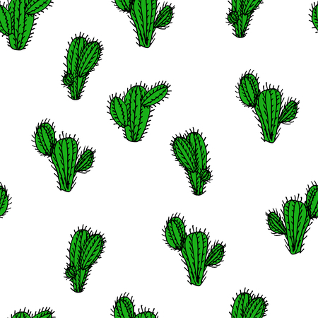 saguaro: Seamless hand drawn vector pattern with cactus saguaro for textile, ceramics, fabric, print, cards, wrapping