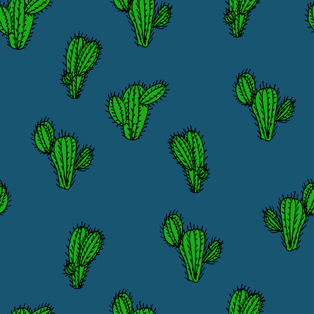 Seamless hand drawn vector pattern with cactus saguaro for textile, ceramics, fabric, print, cards, wrapping