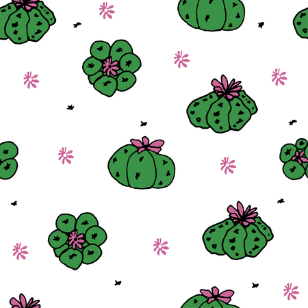 peyote: Seamless vector pattern with cactus peyote for textile, ceramics, fabric, print, cards, wrapping Illustration
