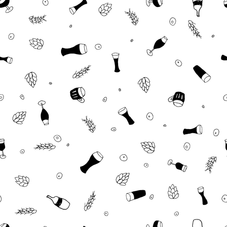 bock: Seamless vector pattern with beer  for textile, ceramics, fabric, print, cards, wrapping