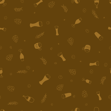 Seamless vector pattern with beer  for textile, ceramics, fabric, print, cards, wrapping