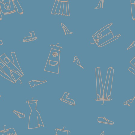 Hand drawn seamless vector pattern with clothes for textile, ceramics, fabric, print, cards, wrapping