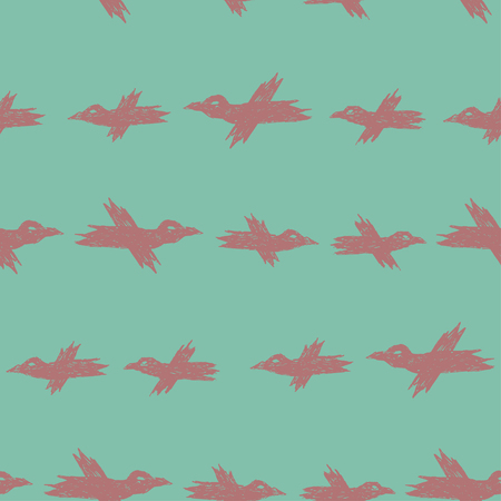 Vector seamless cartoon pattern with pink sketch crows on blue for print, textile, hardcover, bag, mug