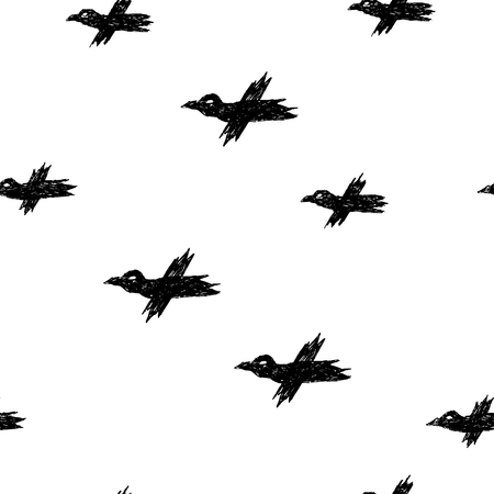 Vector seamless pattern with black sketch crows on white for print, textile, hardcover, bag, mug