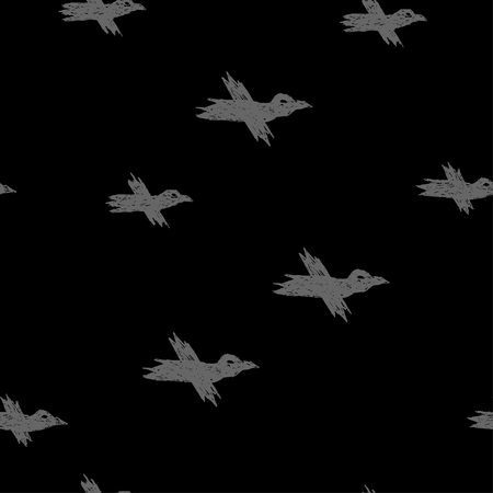 Vector seamless pattern with grey sketch crows on black for print, textile, hardcover, bag, mug