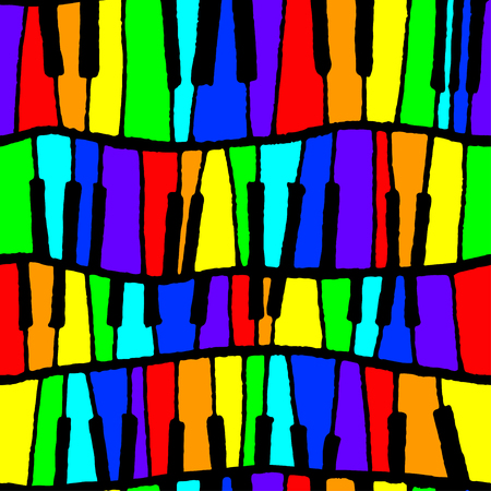 Seamless vector piano pattern in rainbow tones for wrapping, craft, textile, ceramic