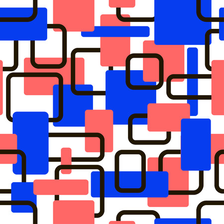 Vector abstract squares seamless red and blue pattern for wrapping, craft, textile, fabric, ceramic