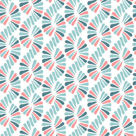 Abstract seamless vector nature ribbon pigtail retro pattern