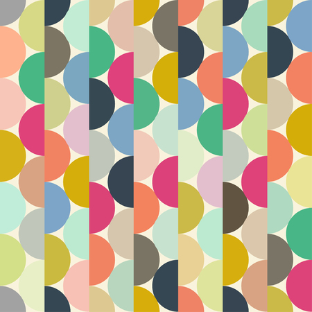 Seamless vector halves rounds colourful vertical pattern for textile, fabric, wrapping, craft, ceramic