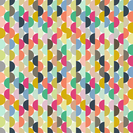 Seamless vector halves rounds colourful small pattern for textile, fabric, wrapping, craft, ceramic