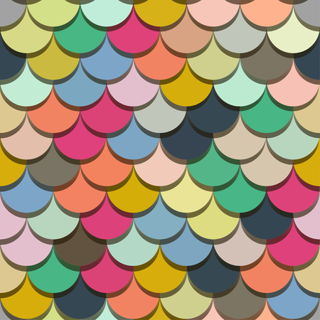 Paper scales seamless vector squama colourful bright stickers pattern for fabric, textile, wrapping, craft, seramic 向量圖像