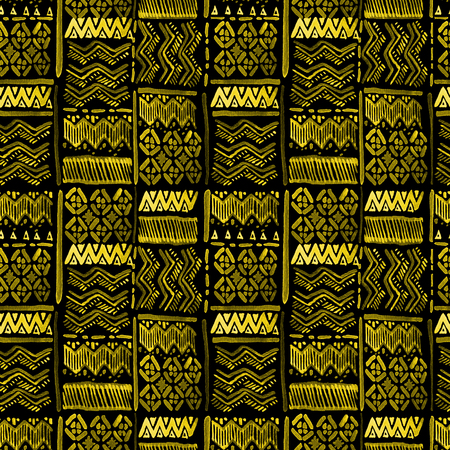 Seamless watercolour ethnic ornate yellow on black for fabric, textile, ceramic, craft, wrapping