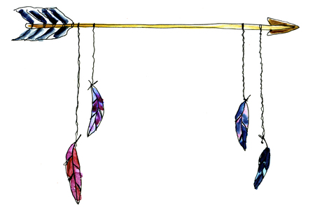 watercolour native american arrow poster for print cards pictures