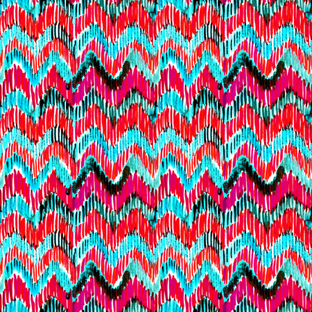 Watercolor turquoise and pink ikat vibrant seamless pattern. Trendy tribal pattern in watercolour style. Peacock feather for fabric, textile, ceramic