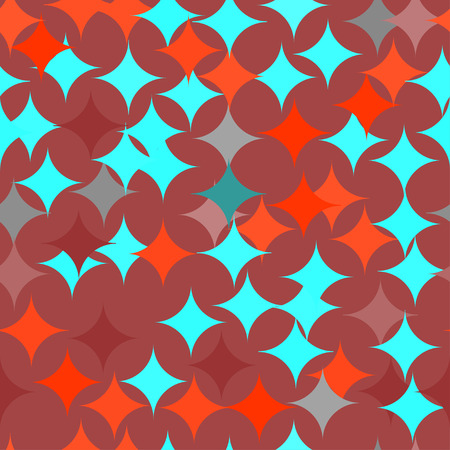 Abstract vector seamless retro tile pattern with geometric rouns red and turquoise texture for wrapping, craft, textile Vectores