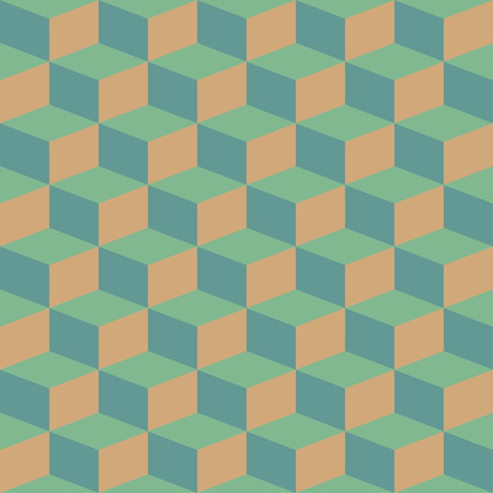 Abstract blocks visual illusion seamless contrast retro pattern for craft, wrapping, fabric, textile 矢量图像