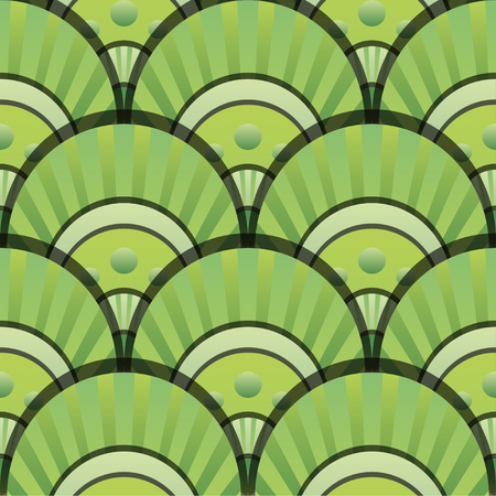 Vibrant gradient seamless fairy shells vector green pattern for fabric, textile, wrapping, craft, wallpaper Illustration