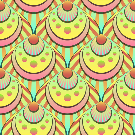 Vibrant gradient seamless fairy shells vector light pattern for fabric, textile, wrapping, craft, wallpaper