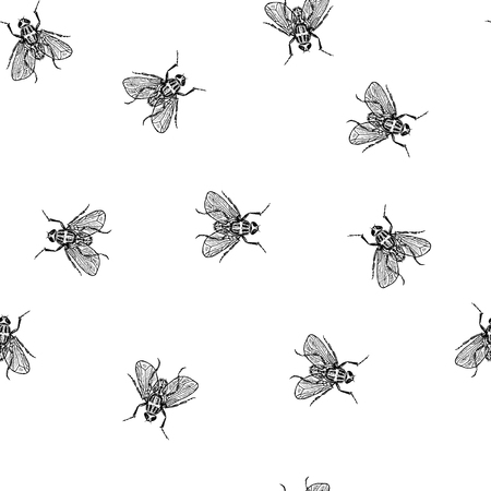 Fly in chaos vector seamless white pattern for fabric, wrapping, craft, cards, branding, textile