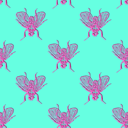 Stereo flies pink and turquoise vector seamless pattern for fabric, wrapping, craft, cards, branding, textile