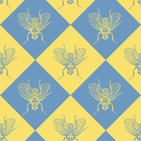 Fly blue and yellow vector seamless pattern for fabric, wrapping, craft, cards, branding, textile