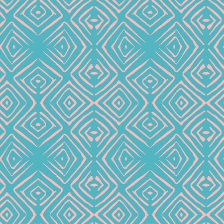 Linocut rhombus tile vector seamless turquoise pattern for textile, wrapping, craft