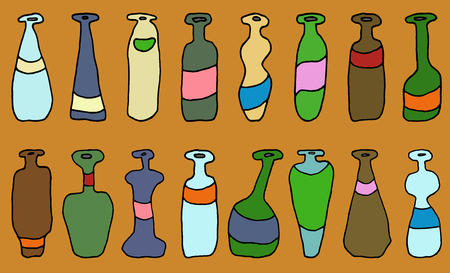 Set of different coloured vector bottles for wrapping, craft, textile Ilustração