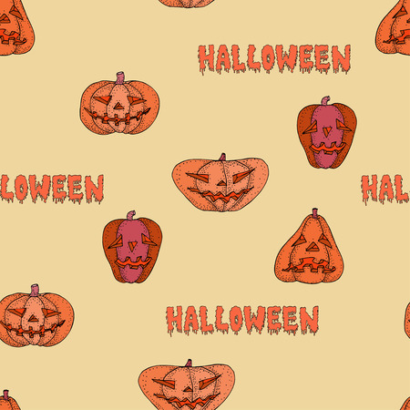 Halloween pumpkin vector seamless warm pattern for web, cards, poster, textile, wrapping, craft
