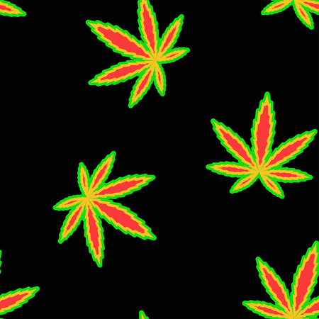 Marijuana leaves flag colour vector seamless pattern for wrapping, craft, textile, fabric Illustration