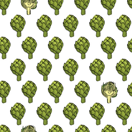 Coloured vector artichoke seamless natural pattern for web, banner, textile, cards, t-shirt Illustration