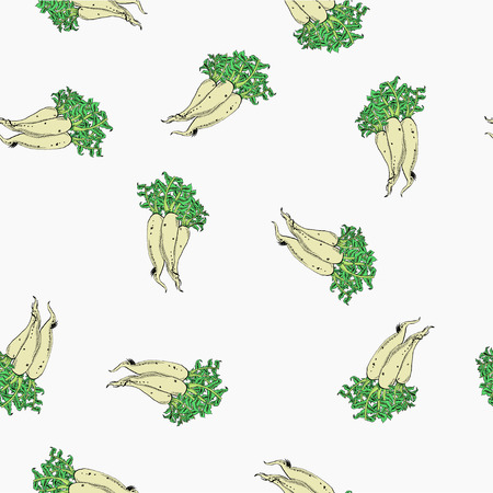 Calligraphy daikon vector coloured white pattern for wrapping, craft, textile, fabric  イラスト・ベクター素材