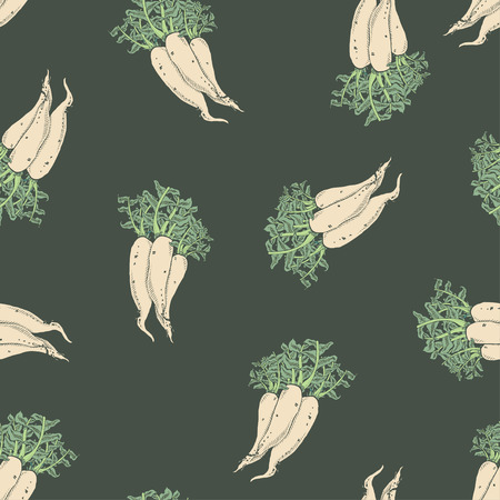 Calligraphy daikon vector coloured pattern for wrapping, craft, textile, fabric