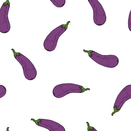 Calligraphy eggplant coloured natural vector pattern for wrapping, craft, textile, branding