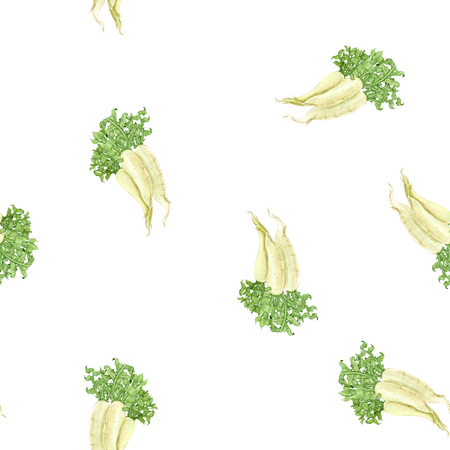 Watercolour daikon natural hand-drawn pattern for wrapping, craft, textile, fabric